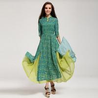 Hot-selling 2014 faux two piece set overlock placketing bottom expansion skirt slim waist three quarter sleeve one-piece dress