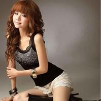 4 colors Cheap Women's Rhinestone Tank Top Lace women vest Sleeveless T-Shirt Black White 2pcs/ lot