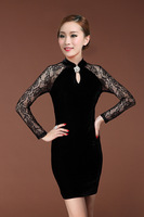 Fashion ladies ol 2013 vintage cheongsam lace patchwork slim waist one-piece dress