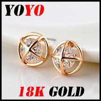 Fashion Sale Freeshipping Trendy Earrings 2014 New Jewelry Women Earring Bijoux 18k -plated Round Earth Zircon Earrings,hm017