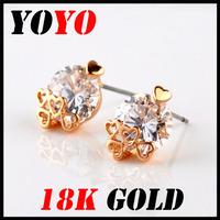Fashion Promotion Freeshipping Earrings 2014 New Jewelry Women Earring Bijoux 18k -plated Sweet Heart Zircon Earrings,hm018