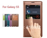 Original PU Leather Flip Case For Galaxy S5 Samsung S5 i9600 Case,S-View & Water Proof Design,5 Colors+Free Gift & Shipping