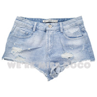 MISS COCO 2014 Hot Light Color High Waist Sexy Super Short Holes Bleached Skinny Denim Shorts Jeans for Ladies Women