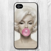 Free Shipping Marilyn Monroe Bubble Gum Hard Cover Case For iPhone 4 4s 4g