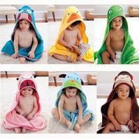 Pure cotton Boy girl child Animal cartoon printed Baby bathrobe/baby hooded bath towel/kids bath  beach baby bathrobe Cloak cape