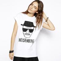 Richcoco heisenberg head portrait print short-sleeve round neck T-shirt d344