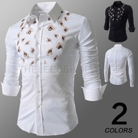 New Casual Shirts 2014 Leopard Printed Men's Long Sleeve Slim Fit Shirt Designer Mens Brand Clothes White Business Shirts M-XXL