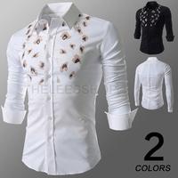 Summer New Hot 2014 Leopard Printed Men's Long Sleeve Slim Fit Shirt Designer Mens Brand Clothes White Business Shirts M-XXL