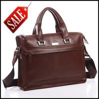 Brand 2015 GENUINE LEATHER Men Travel Bags Business Casual Handbags Brown Men Messenger Bag Men's Briefcase Laptop Bag RJS-182C
