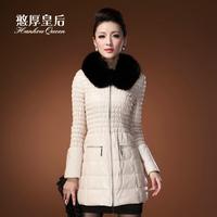 100% genuine sheepskin leather down jacket women coat with fox fur collar, slim female outwear filled with heat insulation