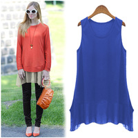 2014 summer European and American trade large size round neck  irregular edge rendering T-shirt