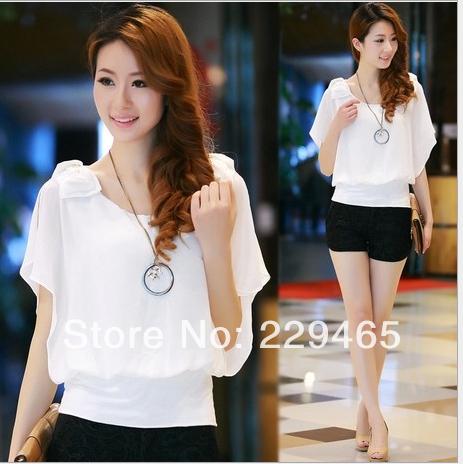 2014 nova moda verão fina de manga curta camisa babados chiffon camisa doce mulheres tops blusa grátis frete(China (Mainland))