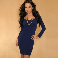Cheap Simple Sexy Navy Blue Bodycon Dress W21119 Full Sleeve Scoop Neck Brief Bodycon Mini Casual Winter & Autumn Dress
