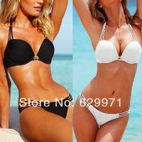 2014  Hot SEXY GIRL/Women Bikini Set Push-up Padded Bra Swimwear Black & White-1
