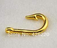 DIY bracelet Jewelry accessory free shipping 10pcs a lot gold plated fish hook pendant(B60001)