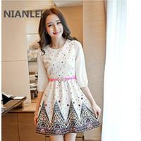 2014 it summer women's three quarter sleeve slim gentlewomen a print small fresh one-piece dress