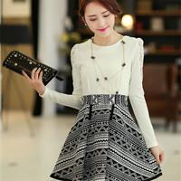 Spring women's elegant slim elegant o-neck long-sleeve dress female skirt