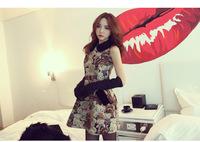 Spring women's one-piece dress peter pan collar woolen bear pattern sleeveless tank dress