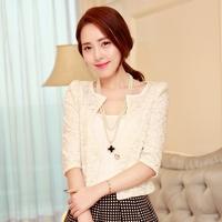 Spring women's elegant outerwear female slim all-match lace top female short jacket