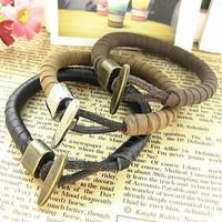 Genuine Leather Bracelet Punk Vintage Wrap Bracelets for Men and Women Fashion Jewelry SL066