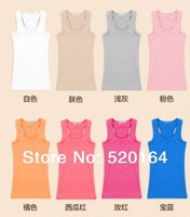 Hot Sale High quality Women's Racerback  yoga Elastic cutton Camisole mutil colors  A-Short  Long Tank Tops summer XXXL big size