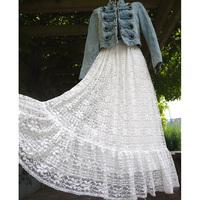 Full lace big skirt long skirt ruffle bust skirt vintage ultra long eyelashes tulle dress
