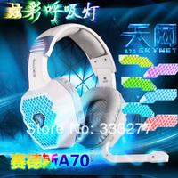 A70 breathing light earphones headset computer gaming headset belt 7.1 belt usb sound card