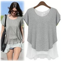 Free shipping new 2014 summer False two-piecet cotton chiffon short sleeve round collar plus size casual women T-shirt 6401 S-XL