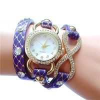 Figure 8 Watches New Listing Hot Products European Style Fashion Circle Cross Woman Scales Long Leather Quartz Watch