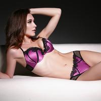 Drop Shipping New 2014 Fashion victoria small push up satin sexy lace deep V-neck women's push up underwear lace bra set sexy