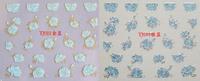 20pcs/lot Nail art tools applique glue finger sticker tj 3d cartoon blue rose flower small  ,free shipping