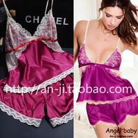 Free Shipping New 2014 Fashion deep V-neck cotton cloth cross spaghetti strap ribbon silk shorts sleepwear home set