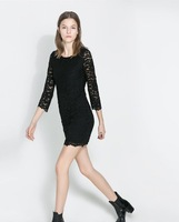 Spring 2014 new women's European and American style full lace Slim solid black dress lf-2335