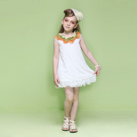 Spring 2014 new European and American girls fresh lotus leaf collar chiffon dress sleeveless dress foreign trade Girls