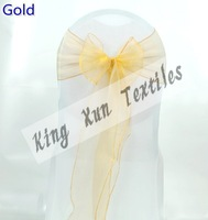 Nice Looking Gold Color Organza Sash And White Wedding Lycra Chair Cover