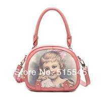 2014 women's handbag vintage mini portable carton pattern small handbag messenger bag