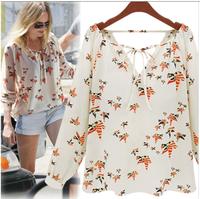 Free shipping 2014 new women's Fashion multicolour  flying plgeon pattern V-neck strap long-sleeve chiffon shirt number 0001