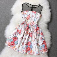2014 New Women's Summer Dresses European and American Stitching Slim Flower Printed Sleeveless One-piece High Street Retro Dress