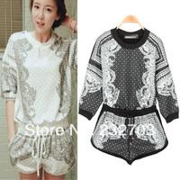 2014 summer personalized decorative pattern loose t shorts casual set sports casual sweatshirt print set