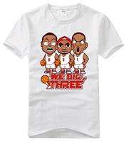 Basketball James Chris Bosh Dwyane Wade  Big Three Q edition printed cotton round neck short sleeve T-shirt men