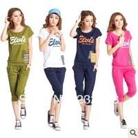 Summer short-sleeve casual sportswear set women's sports set summer