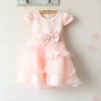 (1pieces/lot)Children's dresses girls Big bowknot waves dress princess Love bright drill full dress lace Net yarn dress summer A