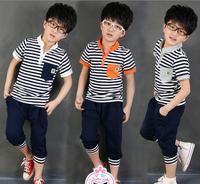 (5pieces/lot)Children's Outfits & Sets Short sleeve stripe T-shirt + letters haroun pants 2 piece set summer