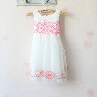 (3pieces/lot)Children's dresses girls Sleeveless princess dress  flower lace Net yarn dress summer
