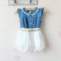 (4pieces/lot)Children's dresses girls cowboy dress princess Love cowboy lace Net yarn dress summer