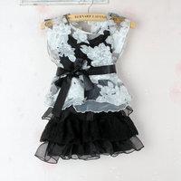 (5pieces/lot)Children's dresses girls bowknot dress princess lace Net yarn dress+pullover 2 piece set summer