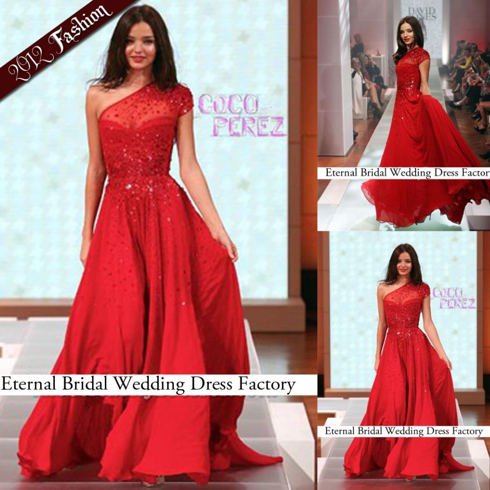 A-line Red Chiffon Short Cap Sleeve Beading Short Sleeve Miranda Kerr Red Prom Dress David Jones Spring Summer 2012 Fashion Show(China (Mainland))