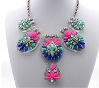 New 2014 fashion multicorlor  flower luxury  shourouk  chunky body chain collar women design jewelry gift pendant necklace XN045