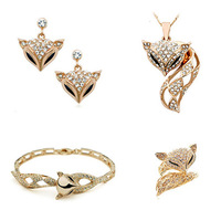 Accessories set mohini fox set crystal stud earring necklace mohini beauty crystal set