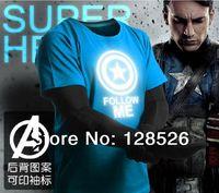 Captain America Marvel t Shirts New 2014 Hero Emitting Luminous Avengers T-shirt Men's Sport Clothing Jersey Short Sleeve Shirt